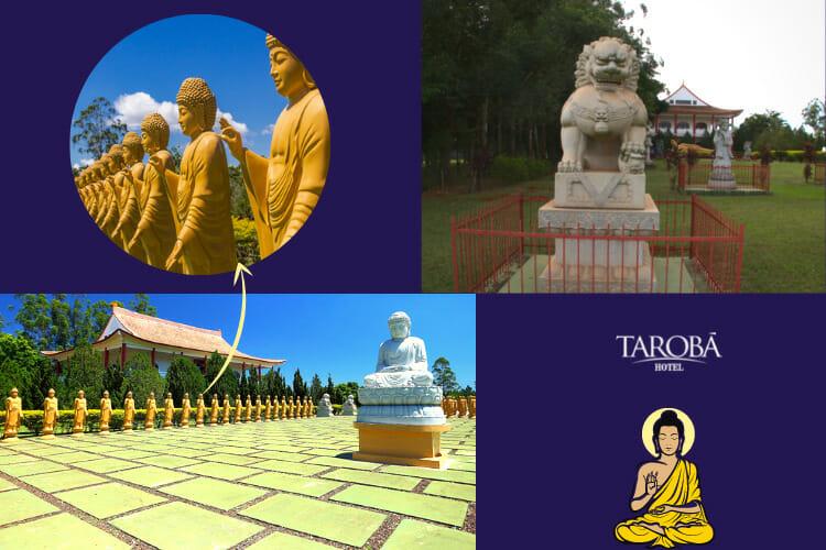 Pátio do Grande Salão, 108 Amitabhas e o Leão Guardião no Templo Budista Foz.